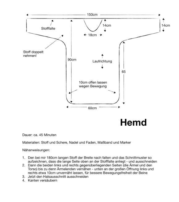 Einfaches Schnittmuster für mittelalterliches Hemd zum selber machen