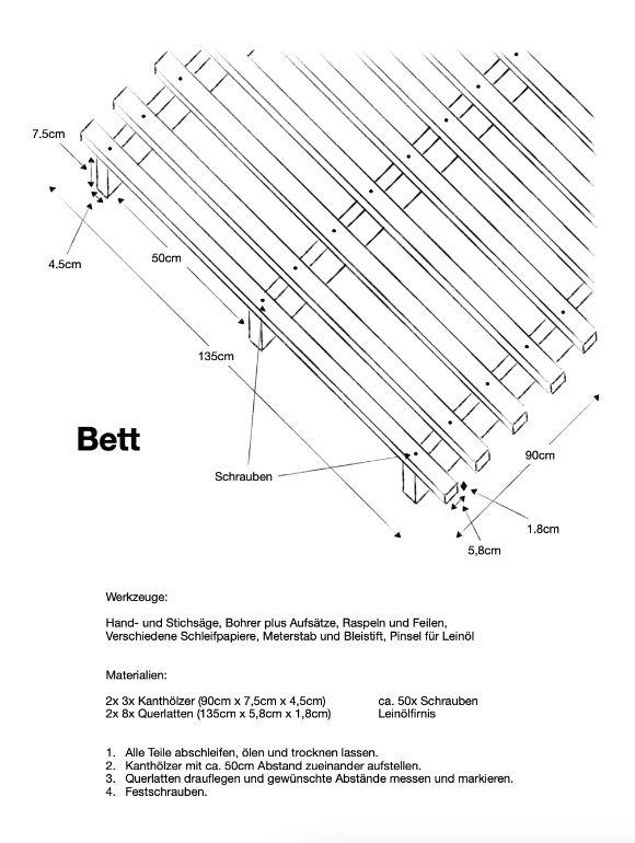Einfache Anleitung zum bau eines simplen Bett Gestells