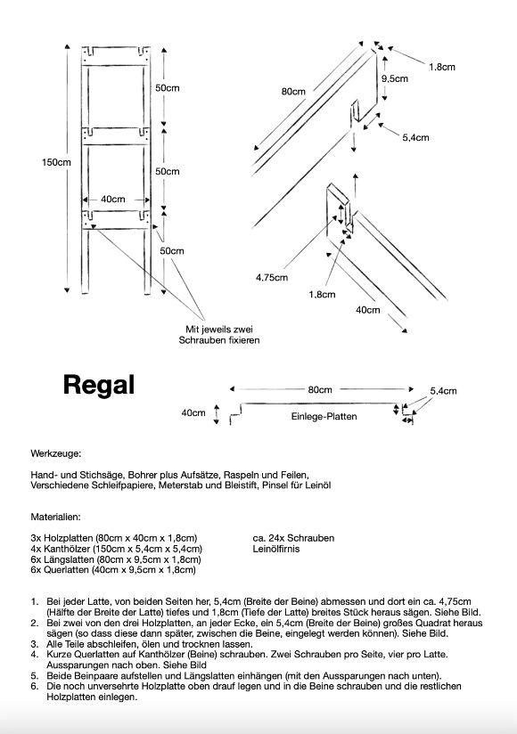Einfache Anleitung mit Skizze zum bau für ein einfaches Holzregal