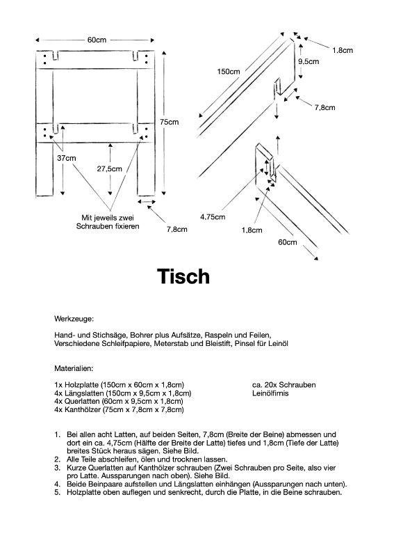 Simple Anleitung mit Skizze zum bauen eines Tisches
