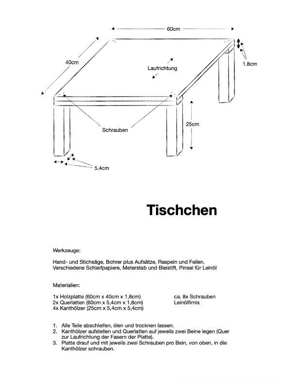 Einfache Anleitung zu kleinem selbst gebautem Holztisch