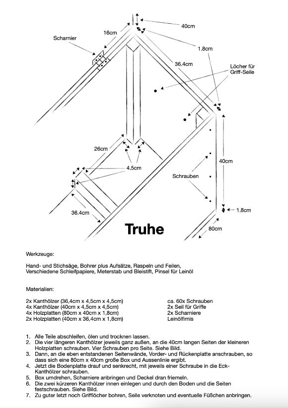 Anleitung und Skizze für einfache Holztruhe zum selber bauen
