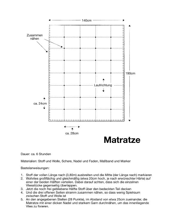 Anleitung und Maße zur Herstellung einer Woll-Matratze.