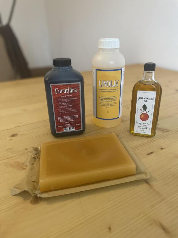 Benötigte Zutaten zur Herstellung eines gewachsten Tarps.
