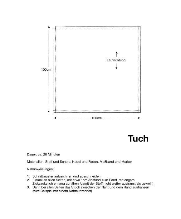 Einfache Anleitung für ein quadratisches Tuch.