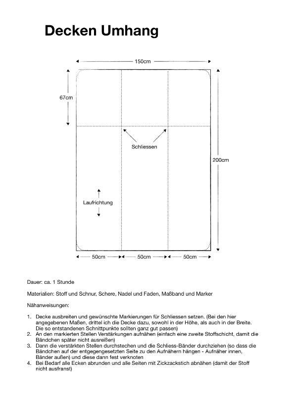 Anleitung und Maße für einen mittelalterlichen Rechteck Decken Umhang.